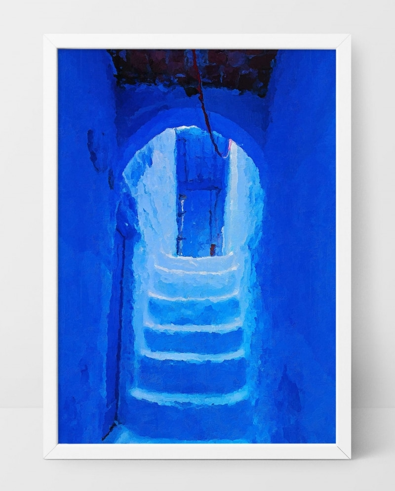 Wall Art Blue Stairs in Chefchaouen